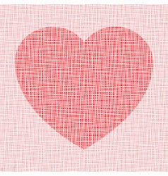 red heart on canvas texture vector image vector image
