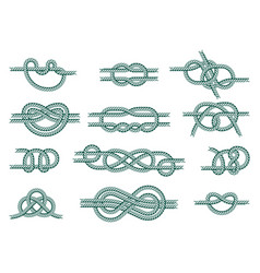 sea boat rope knots isolated vector image
