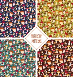 Seamless mushroom patterns set vector image