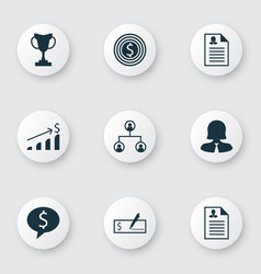 Set of 9 management icons includes female vector