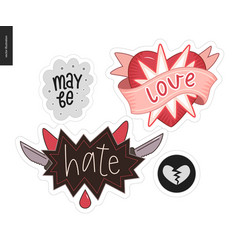 Set of contemporary girlie love letter logo vector