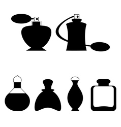 Set of flat woman perfume isolated on white vector image