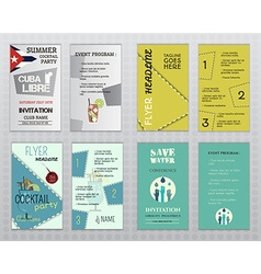 Set of flyer layout templates Cocktail party vector image