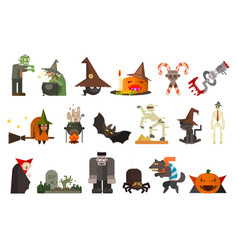 Set of scary halloween characters and objects vector