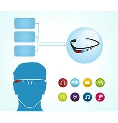 Smart glasses apps vector