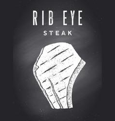 Steak chalkboard kitchen poster with steak vector
