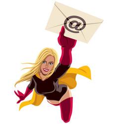 Superheroine flying e-mail vector