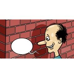 talking to a brick wall cartoon vector image