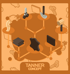 Tanner color concept isometric icons vector