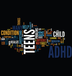 Teens and adhd text background word cloud concept vector