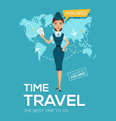 travel poster of airline best time to travel vector image