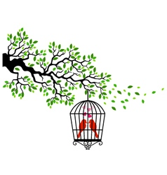 Tree silhouette with bird in a cagecage tree bir vector image