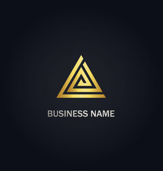 triangle line delta business gold logo vector image