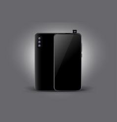 triple camera black smartphone concept mockup vector image
