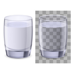 two glasses of water on white background for vector image