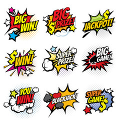 vintage pop art comic bubbles with gambling vector image