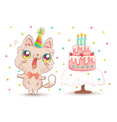white kitty in birthday hat vector image