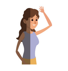 Woman her arm raised image shadow vector