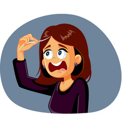 Woman reacting to first gray hair cartoon vector