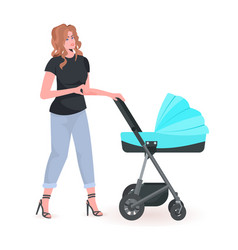 Young mother walking with newborn baby in stroller vector