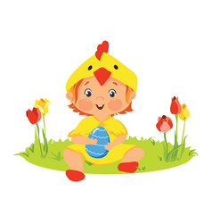 baby in chick costume with decorative egg vector image vector image
