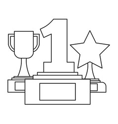 collection icons trophy star cup and number one vector image