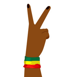 hand of african woman showing victory sign vector image