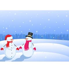 snowmans in winter landscape vector image vector image