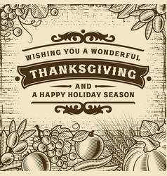 Thanksgiving vintage brown card vector