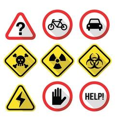 Warning signs - danger risk stress - flat design vector image vector image