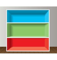 colorful empty bookshelf vector image vector image