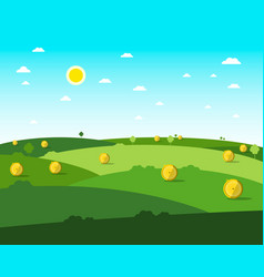 empty field flat design meadow sunny day with vector image vector image