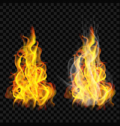 fire flame with smoke and without vector image