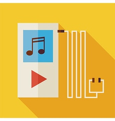 Flat Music Player with long Shadow vector image vector image
