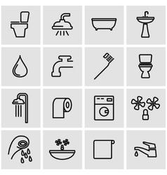 line bathroom icon set vector image vector image