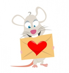 mouse with love symbol vector image vector image
