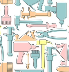 Tools seamless pattern Drill and hammer vector image