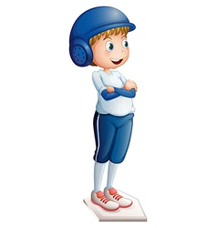 A boy ready to play baseball vector image vector image