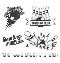 Bowling club logo set in vintage style vector image vector image