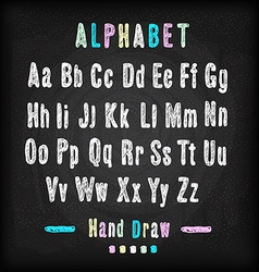 Chalkboard font Hand draw alphabet vector image vector image