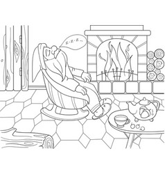 childrens coloring book cartoon the interior of vector image vector image