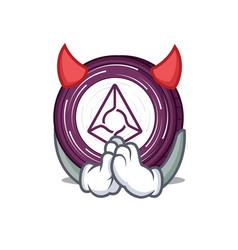 devil augur coin mascot cartoon vector image vector image