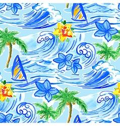 Hawaiian waves seamless pattern vector image