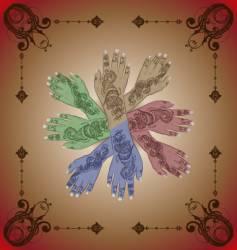 Henna hands vector image