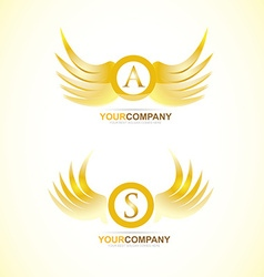 Letter wings gold golden logo vector image
