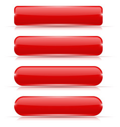 red glass buttons rectangle and oval web icons vector image vector image