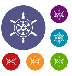 wheel of ship icons set vector image