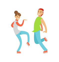young couple in casual clothes dancing colorful vector image vector image