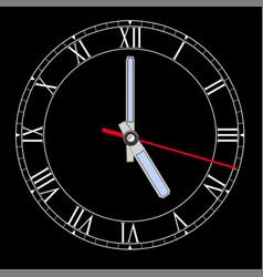 black clockface with roman numerals five o clock vector image vector image