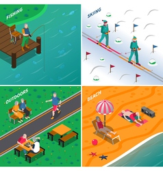 Elderly People 2x2 Isometric Icons Set vector image vector image